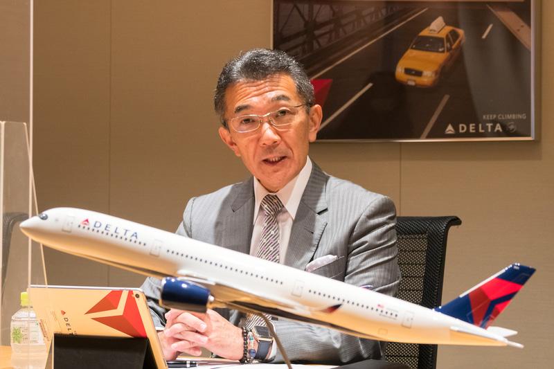 デルタ航空が空港、機内の新型コロナ対策「デルタ・ケア・スタンダード」の説明会を開催。デルタ航空会社 日本支社長 大隅ヴィクター氏は同社の取り組みについて「安全・安心を一つのブランド価値として考えている」と紹介