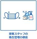 マスク着用、消毒、検温などの衛生管理を徹底する