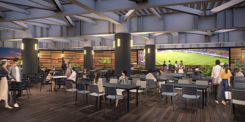 福岡空港ビアマルシェ「SORAGAMIAIR(ソラガ・ミエール)」は席数が最大400席(当面約200席で営業)。店内にある大型モニターでは福岡空港滑走路のライブ映像やスポーツ中継などを楽しむことができる