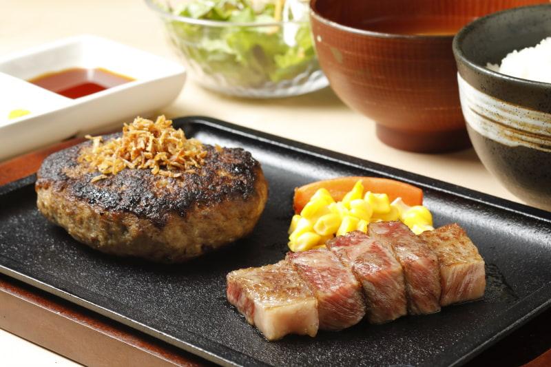 和牛ダイニング ぱんが「鹿児島県産黒毛和牛100%ハンバーグ&サーロインコンボ」