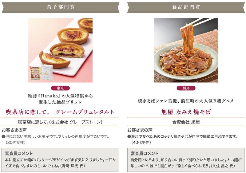「菓子部門賞」「食品部門賞」
