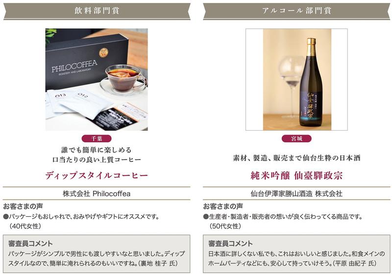 「飲料部門賞」「アルコール部門賞」