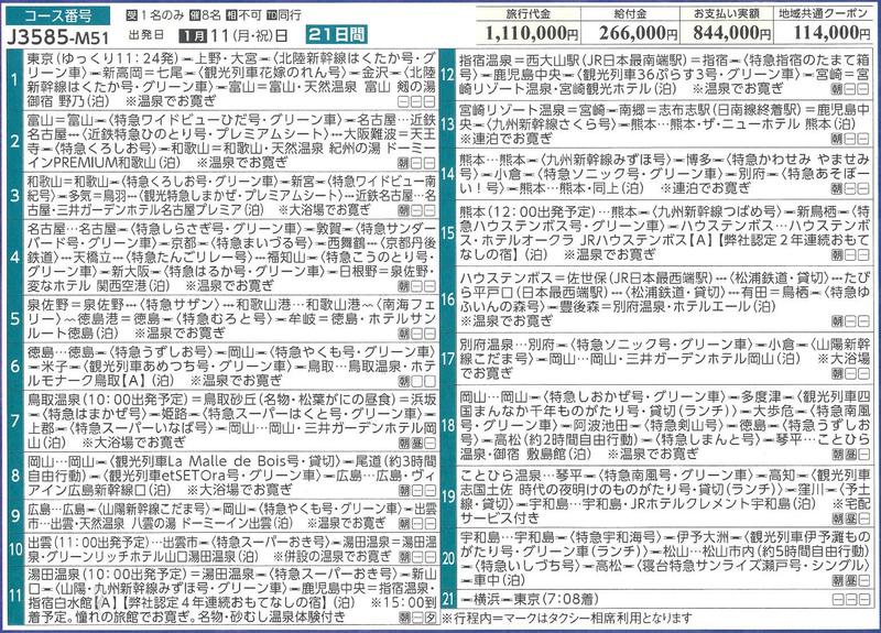 「にっぽん鉄道三昧プレミアム ~GoTo西日本編~ 21日間」旅程表