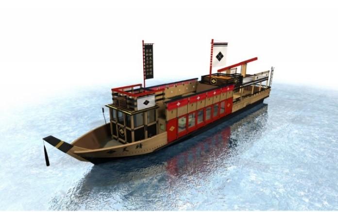 甲斐武田軍に属していた「水軍」の安宅船をモチーフにした純和風の遊覧船