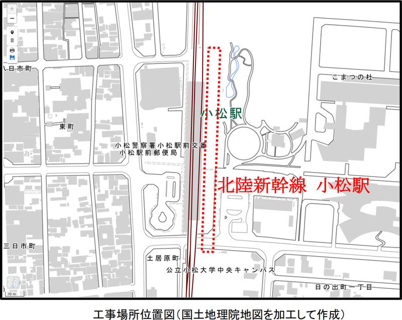 北陸新幹線 小松駅の位置図