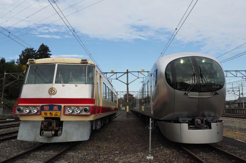 西武鉄道の初代特急車両「5000系レッドアロー」(左)と最新の特急車両「001系Laview」