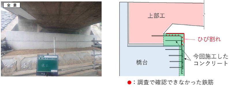 NEXCO中日本は中央道跨道橋の耐震補強工事の施工不良で調査委員会を設置した(画像は「緑橋A1橋台」のひび割れ箇所)