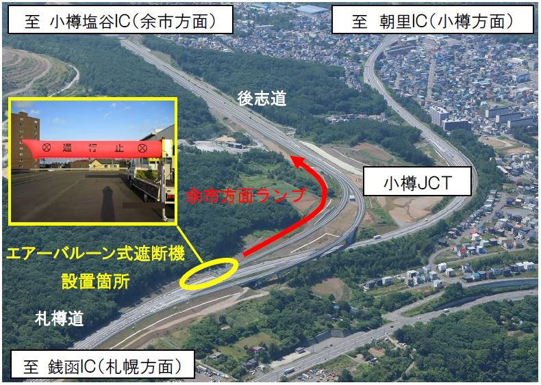 NEXCO東日本は後志道 小樽JCTでエアバルーン式遮断機による通行止めを試行運用する