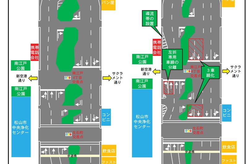 愛媛県松山市内の国道196号 松山環状線で、2021年3月上旬を目途に車線運用を変更