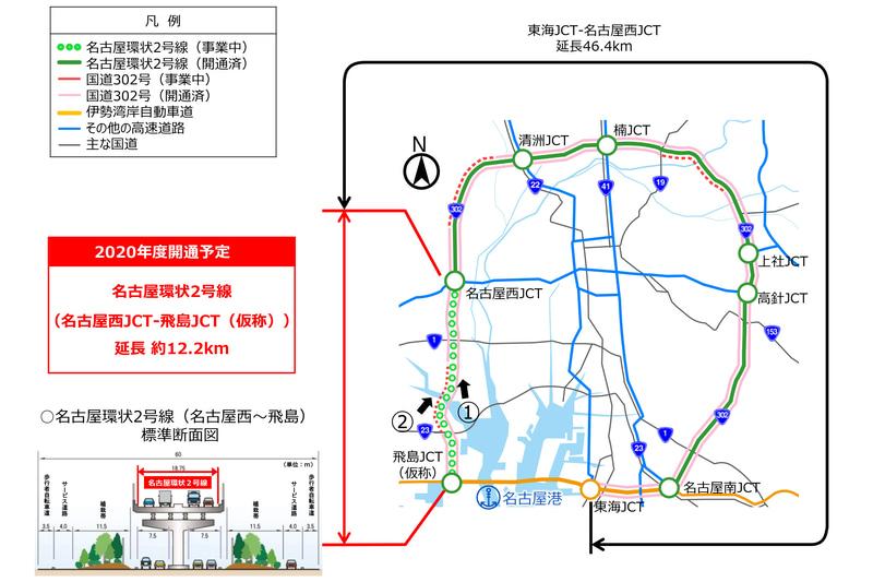 名二環の名古屋西JCT~飛島JCT概要(2017年7月28日付け、同社ニュースリリースより)
