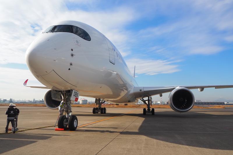 JALのA350 8号機が羽田空港に到着した(写真提供:日本航空)