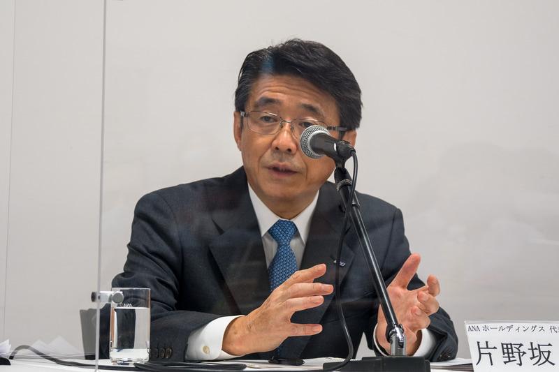 ANAホールディングス 代表取締役社長の片野坂真哉氏(2020年10月撮影)