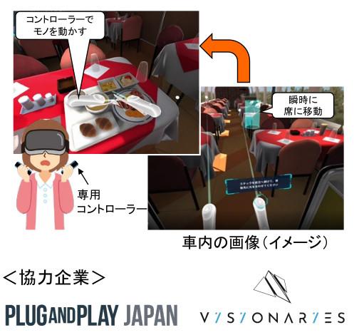 VR技術を活用した「新幹線食堂車内体験」
