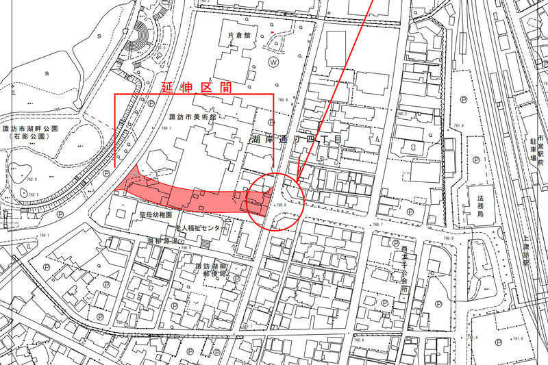 長野県諏訪市は、上諏訪駅西口と諏訪湖畔を結ぶ市道「柳並線」の延伸区間を4月14日13時に開通する