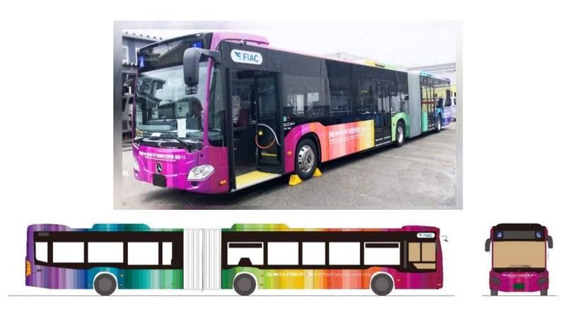 福岡空港の国内線~国際線連絡バスに、4月20日から連節バスを導入する