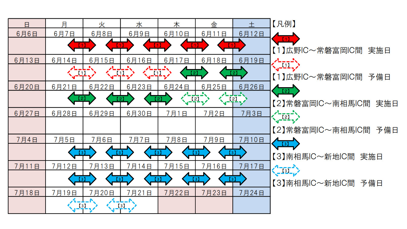 夜間通行止めの実施日カレンダー