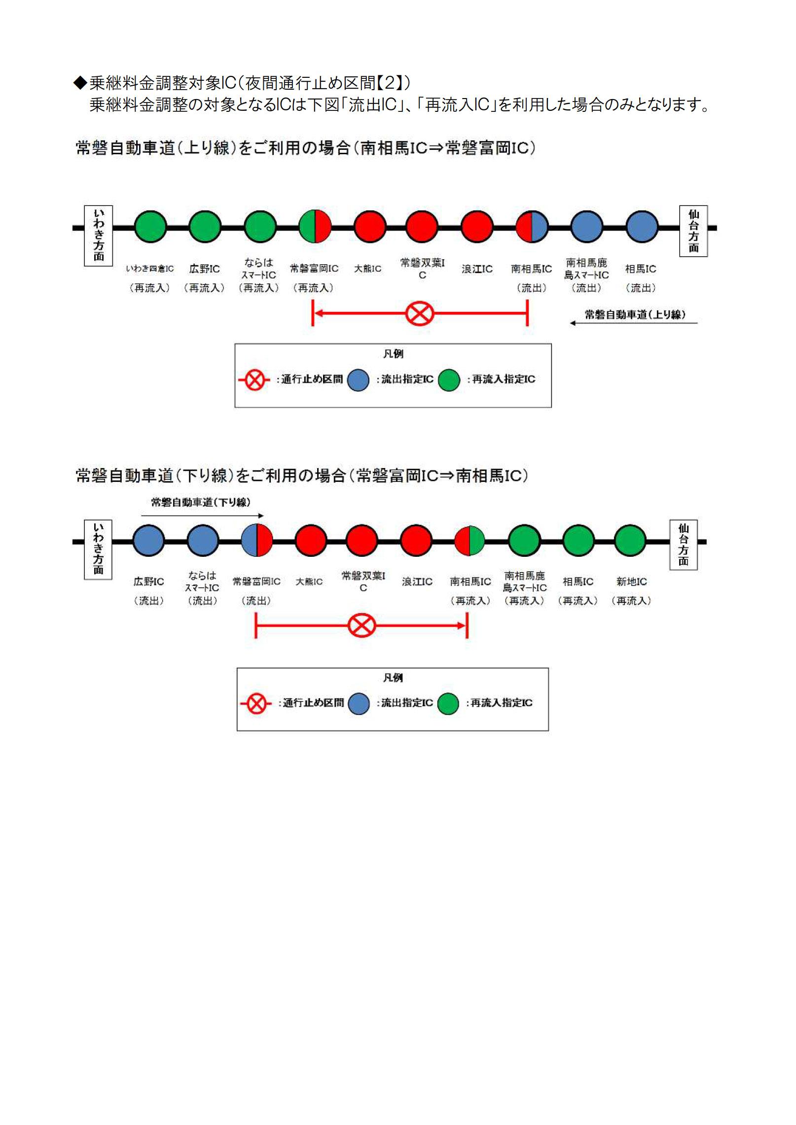 常磐富岡IC~南相馬IC通行止め時の迂回路と乗り継ぎ調整