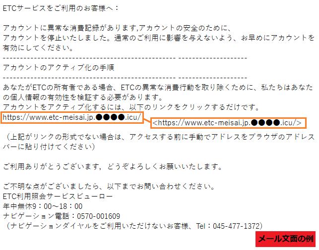 「ETC利用照会サービス」をかたるフィッシングメール