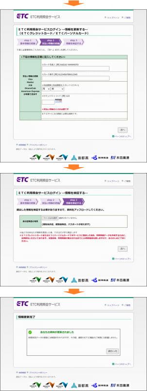 「ETC利用紹介サービス」をかたるフィッシングサイト。カード番号の入力や写真のアップロードを促す