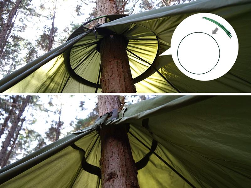 サブポールをテント上部に入れられる