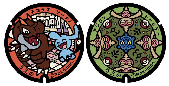 国立科学博物館前のポケふた(左)東京国立博物館のポケふた(右)
