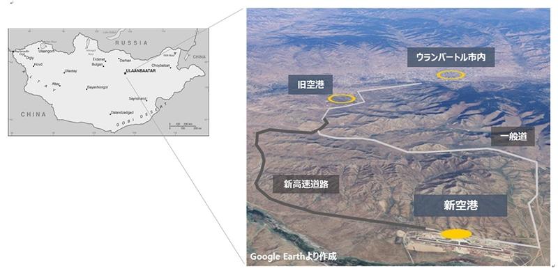 チンギスハーン国際空港位置図