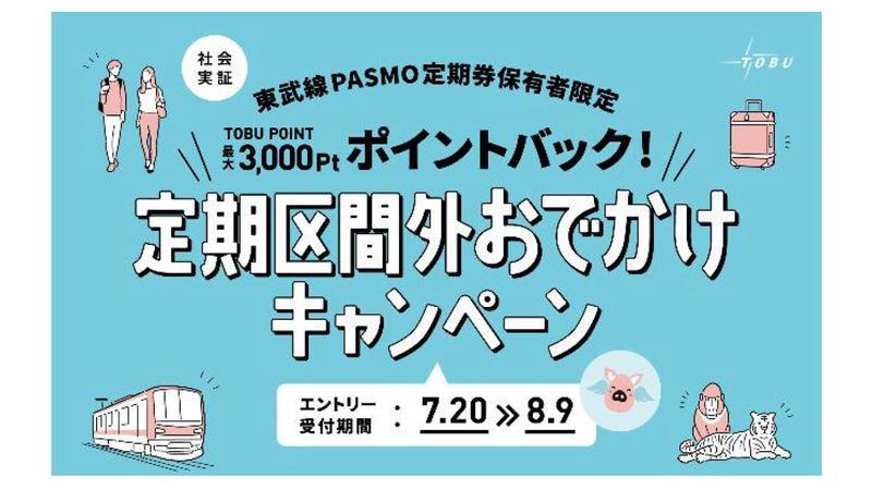 東武鉄道は定期券利用者を対象に、区間外の運賃相当分をトブポに還元する社会実証を実施する