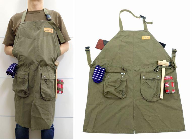 大きめのサイドポケットに、道具をかけられるループ付き