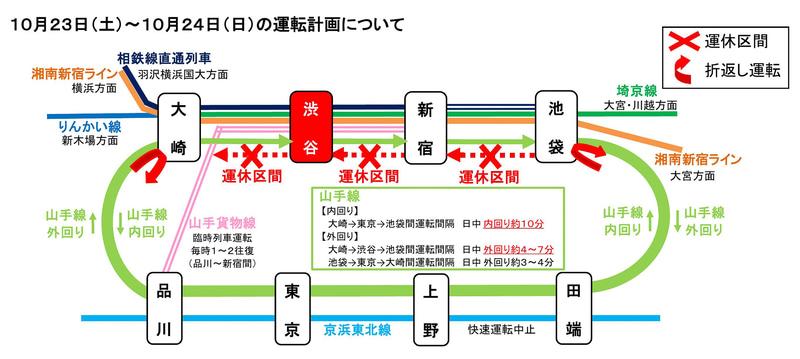 JR東日本は渋谷駅の山手線内回りのホーム拡張で山手線の大規模運休を行なう