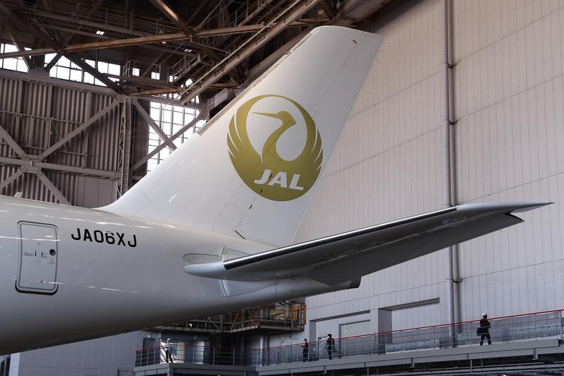 垂直尾翼の鶴丸と前方のエッジも金色
