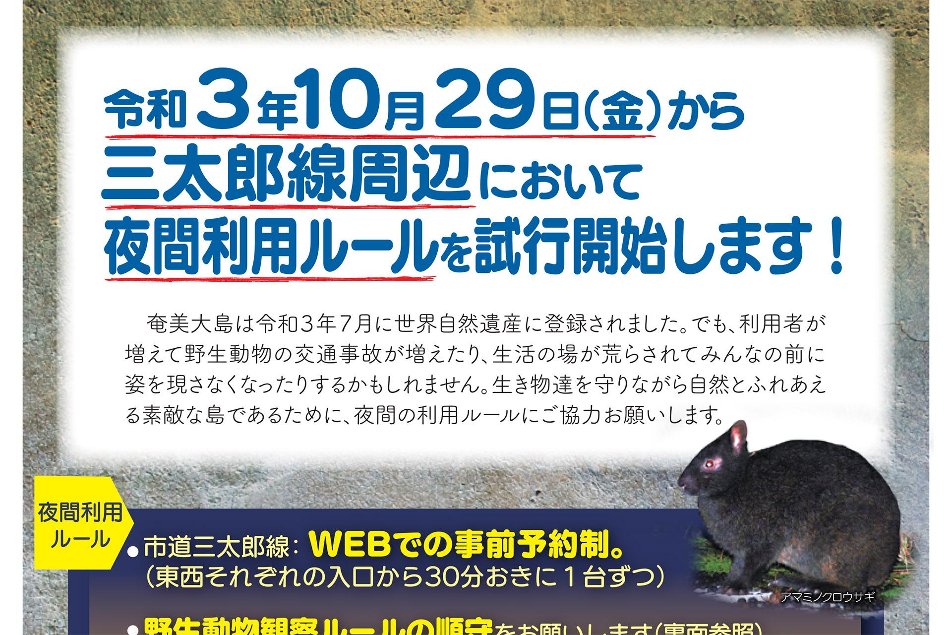 奄美大島の市道三太郎線周辺で夜間利用ルールの試行を10月31日開始