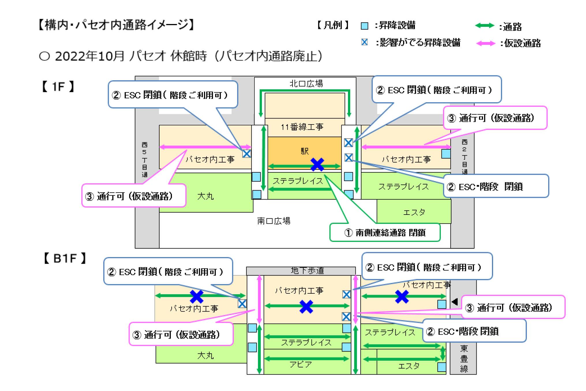 札幌駅構内、パセオの通路や昇降設備の利用停止について