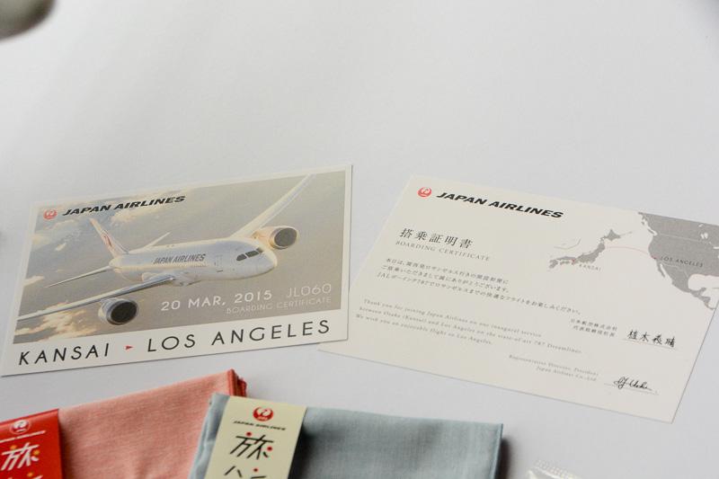 メッセージ入りの搭乗証明書。こちらは機内で配布されるという