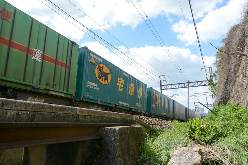 この宝土寺の先の坂を下りてみると線路との距離がやたらと近いトンネルを発見。ちょうど貨物列車が通過したが、かなり迫力がある。ヤマト宅急便のコンテナを見て、TV CMを思い出す人もいるだろう
