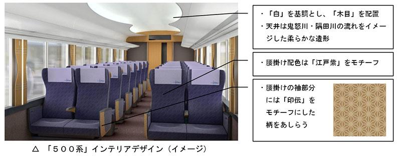 インテリアは、東京スカイツリーのイメージカラーである「白」を基調にして、客室扉などに木目を配置。天井は、鬼怒川や隅田川の流れをイメージした柔らかい造形に
