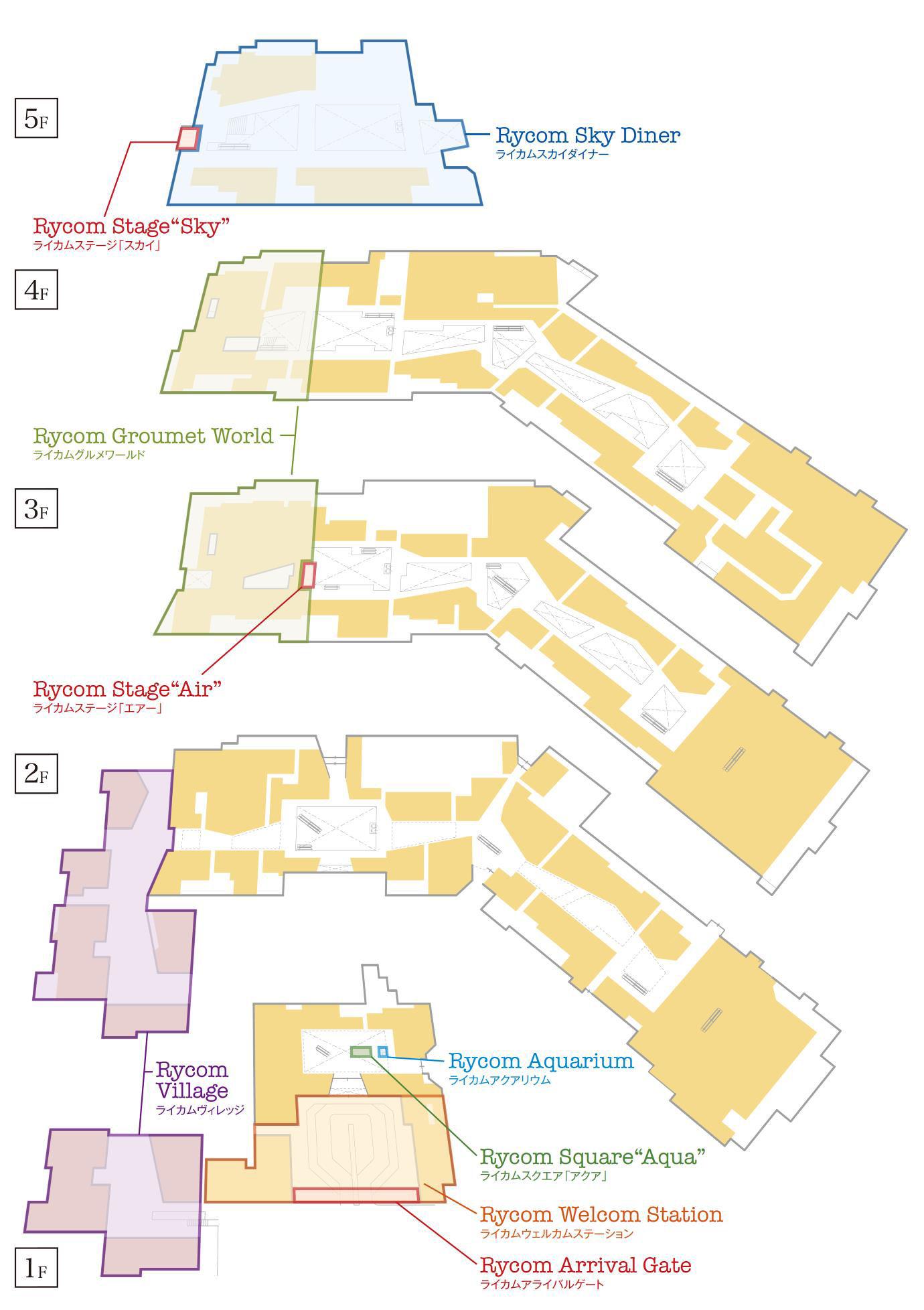 イオンモール沖縄ライカムの館内図。5層のフロア構成に約220の専門店を展開