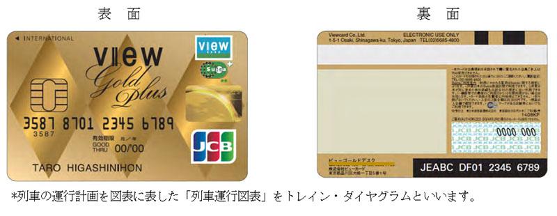 「ビューゴールドプラスカード」のデザイン。表面はダイヤグラムをイメージした柄になっている