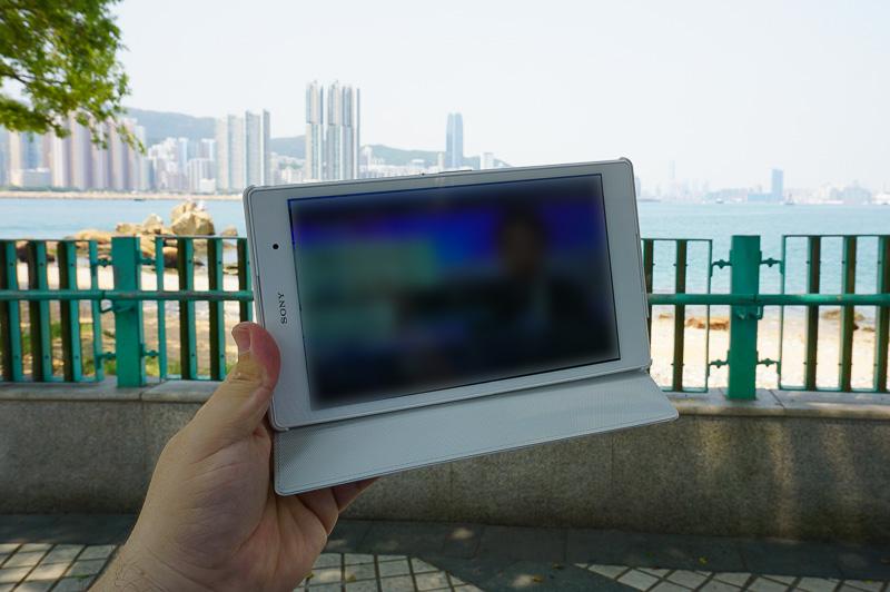 設定が終わったXperia Z3 Compact TabletでSlingboxを使ってTV視聴しているところ