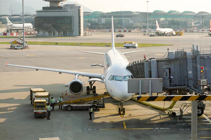 帰国便は香港ドラゴン航空のKA396、機材はエアバス320