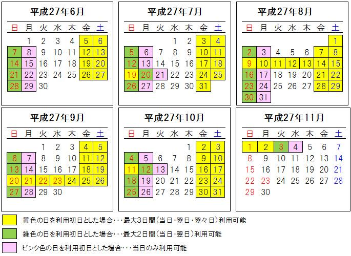 「北海道ETC夏トクふりーぱす」の利用可能日