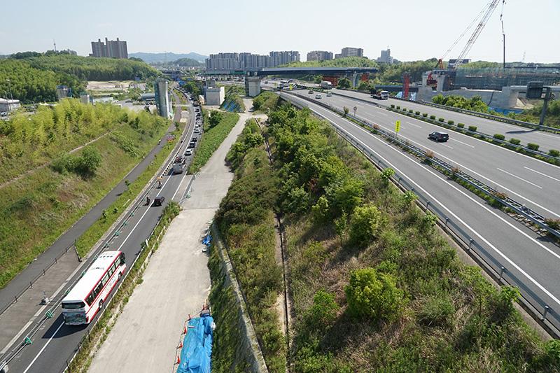 Aランプ2号橋から大阪方面を見る