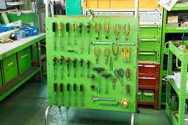 整備に使われるツール類がキレイに整頓されていた