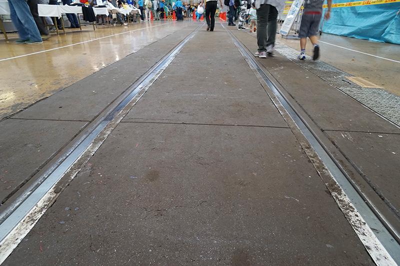 場内は普段点検のため列車が入る線路上も歩くことになる。人が歩く箇所の線路の隙間は埋めてある