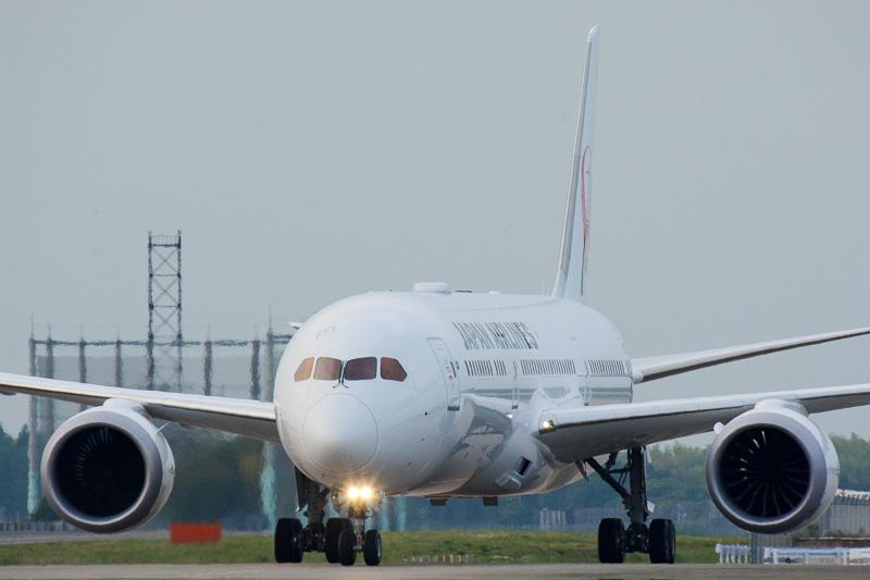 胴体の長さや機内インターネット用アンテナの存在は遠目にも目立つ