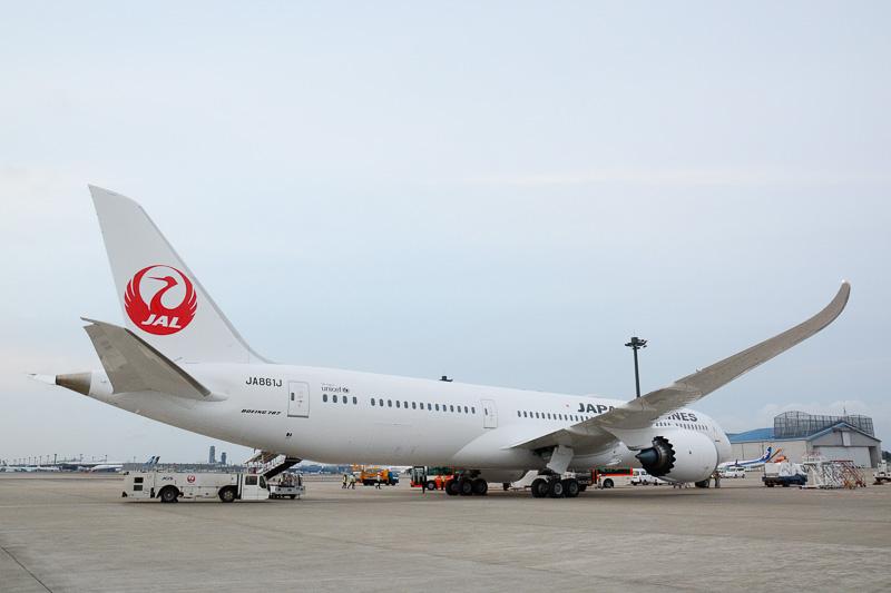 787型機らしい独特の主翼形状は787-9型機も同じ