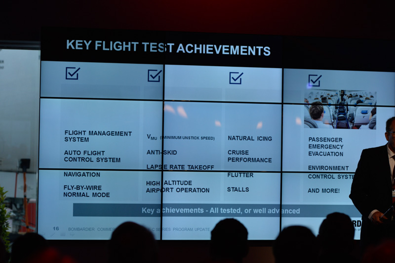 Cシリーズの性能と型式証明取得試験の進捗についての説明
