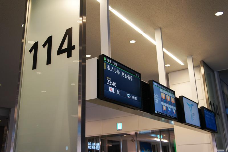 JAL080便の出発は114番搭乗口