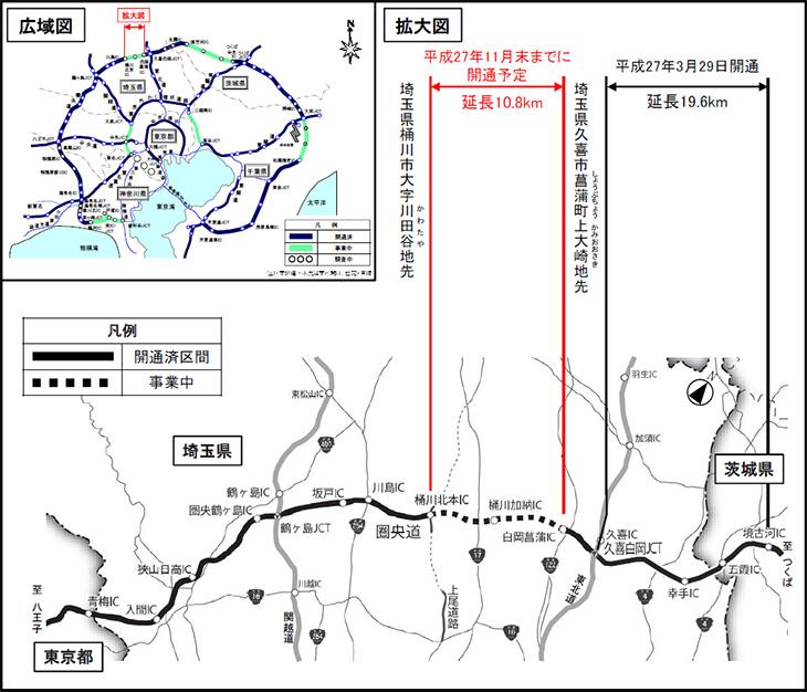圏央道 桶川北本IC~白岡菖蒲IC(10.8km)の路線図