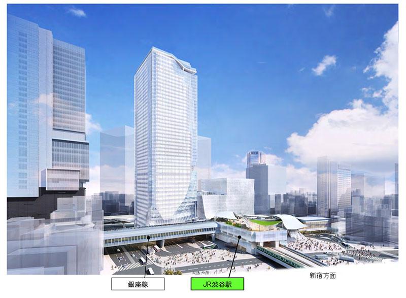 渋谷駅の完成イメージ。新宿方面から宮益坂下交差点を望む