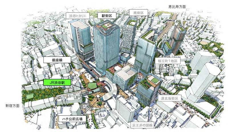 渋谷駅の完成イメージ。道玄坂方面からハチ公前広場を望む
